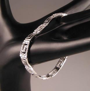Sterling Silver/Cubic Zerconium Greek Key Bracelet