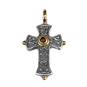 GeroChristo Sterling Silver Cross With Ruby-18ky Bale & Bezel