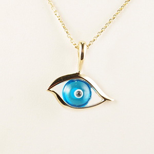 Kabana, 14k Yellow Gold, Teal Glass, Eye Pendant