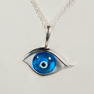 Kabana, Sterling Silver, Glass Eye Pendant
