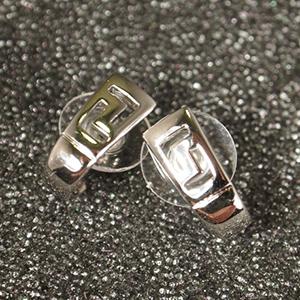 Rhodium Half Hoop Earrings